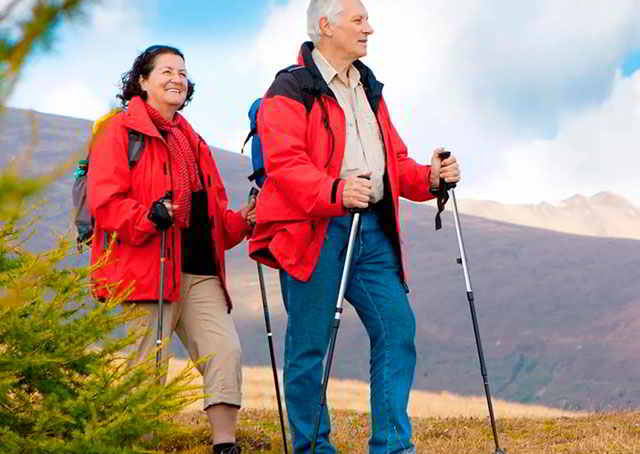 Пожилые люди с палками